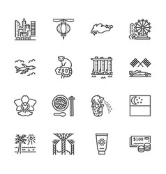singapore flat line icons tourism landmarks vector image