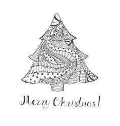 Single christmas tree with pattern and lettering vector