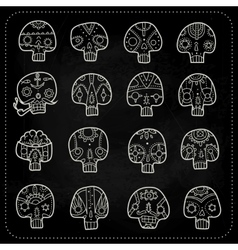 Skulls chalk set vector image