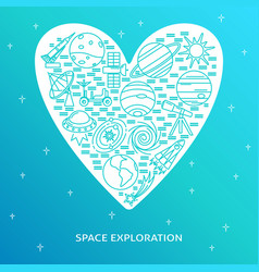 space theme concept banner in line style vector image