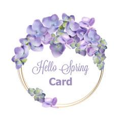 spring hydrangea wreath watercolor vector image