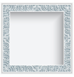 Square frame with cutout lace border pattern vector
