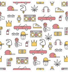 Thin line art rap music seamless pattern vector