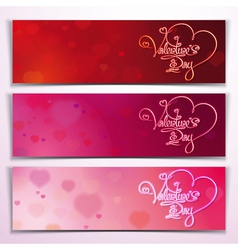 Three Valentine Banners Red Pink vector image vector image