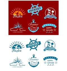 Travel and tourism symbols vector image
