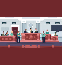 Trial courtroom interior with judges and jury vector
