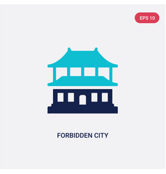 Two color forbidden city icon from asian concept vector