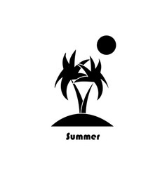 two palm trees on the island and the sun on a vector image