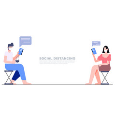 Two people sitting separate keep distance chat vector