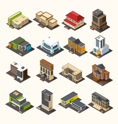 Urban buildings isometric collection vector