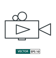 video camera icon line style isolated on white vector image