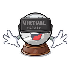 virtual reality ball snow and christmas cartoon vector image