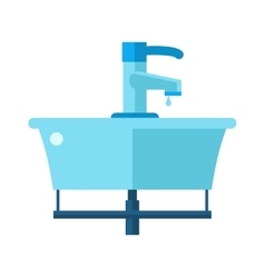 Washbasin bathroom cartoon flat vector image