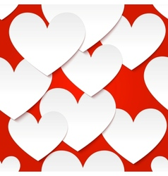 White paper hearts at red background vector image