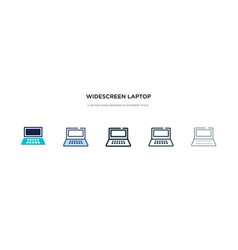 Widescreen laptop icon in different style two vector