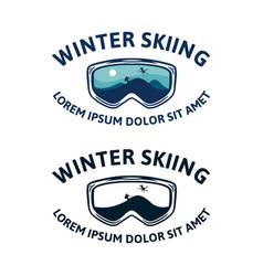 Winter skiing snowboard ski goggle glasses t vector