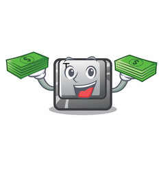 With money bag button t in keyboard cartoon vector
