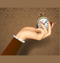 womans hand with a retro pocket watch vector image