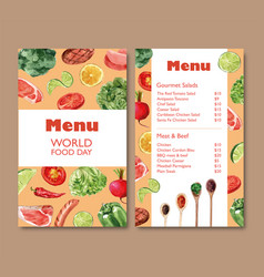 World food day menu design with broccoli bell vector