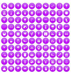 100 childrens parties icons set purple vector image