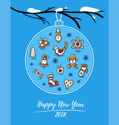 happy new year 2018 card with gingerbreads vector image