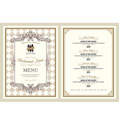 Vintage style restaurant menu design vector image vector image