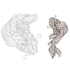 contour image of koi fish japanese carp line vector image vector image