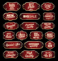 Dark red and gold premium quality labels vector image vector image