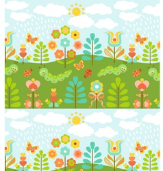 Floral background with cute ladybirds vector image vector image