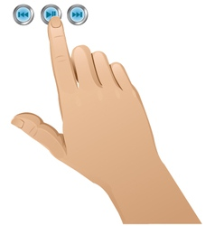 Hand pushing a button vector image vector image