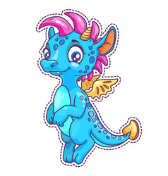 little cute cartoon dragon patch vector image vector image
