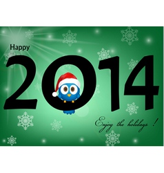 2014 celebration background with funny blue bird vector image vector image