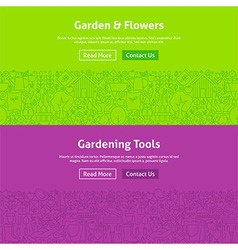 Garden and Flowers Line Art Web Banners Set vector image