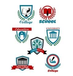 Heraldic emblems for school college university vector image