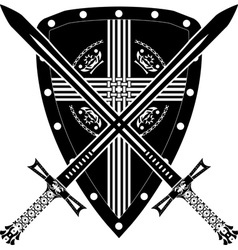 medieval shield and swords vector image vector image