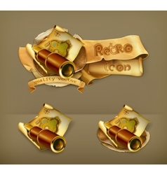 Old map and spyglass icon vector image