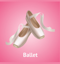 realistic detailed ballet pointe shoes on a pink vector image vector image