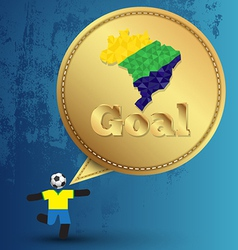Speech gold embroidery goal with soccer player act vector image