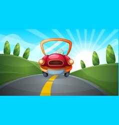Travel cartoon road landscape vector