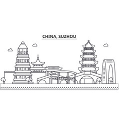 china suzhou architecture line skyline vector image vector image