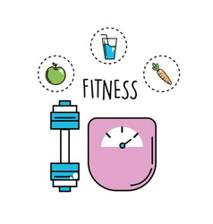 Dumbbell and healthy weight with icons vector