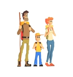 Family Of Three Ready For Hike vector image