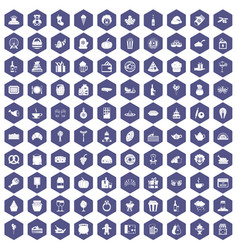 100 bounty icons hexagon purple vector