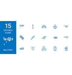 15 military icons vector