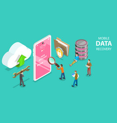 3d isometric flat concept mobile data vector