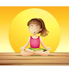 A young lady doing yoga vector