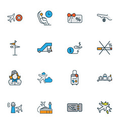 airport icons colored line set with no smoking vector image