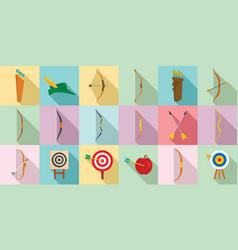 Archery icons set flat style vector