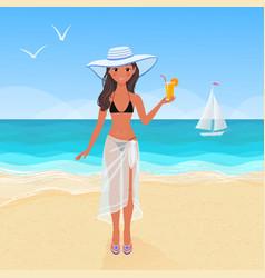 beautiful girl on the seashore vector image