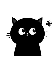 Black cat head face silhouette looking at vector